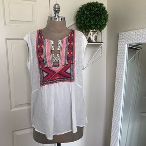 LUCKY BRAND EMBROIDERED TOP XL